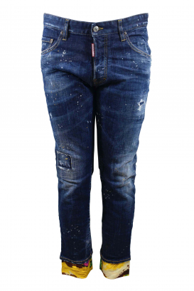 Dsquared2 Skater dark blue faded jean with button closure, white and gold paint stains and flowing yellow hems with desert