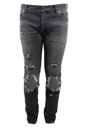 Balmain Slim grey super destroyed jean