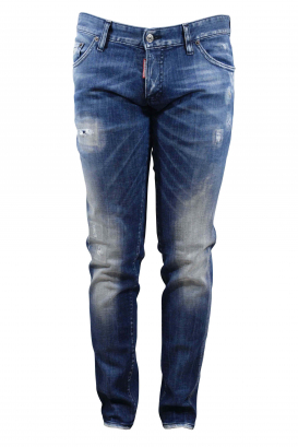 Dsquared2 blue faded Slim jean with destroyed effect and button closure
