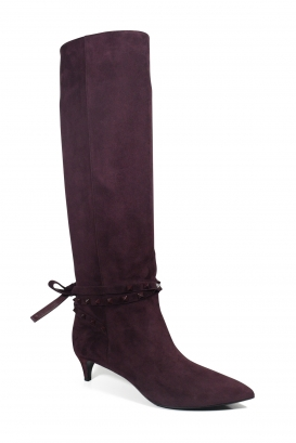 Burgundy suede boots