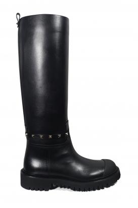 Bottes en cuir noir