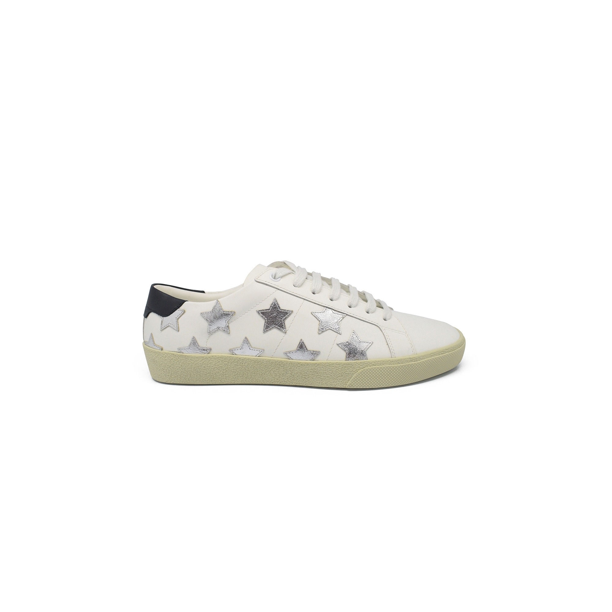 Saint Laurent Court Classic SL/06 sneakers in white leather with stars in silver metallic leather and black leather heel tab