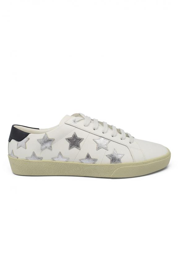 Sneakers Court Classic SL/06 Saint Laurent en cuir blanc ave étoiles en cuir métalisé argenté et renfort talon en cuir noir
