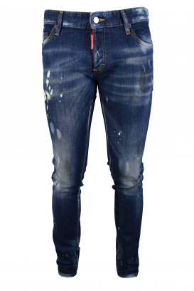 Dsquared2 blue faded Slim jean with white paint stains and button closure
