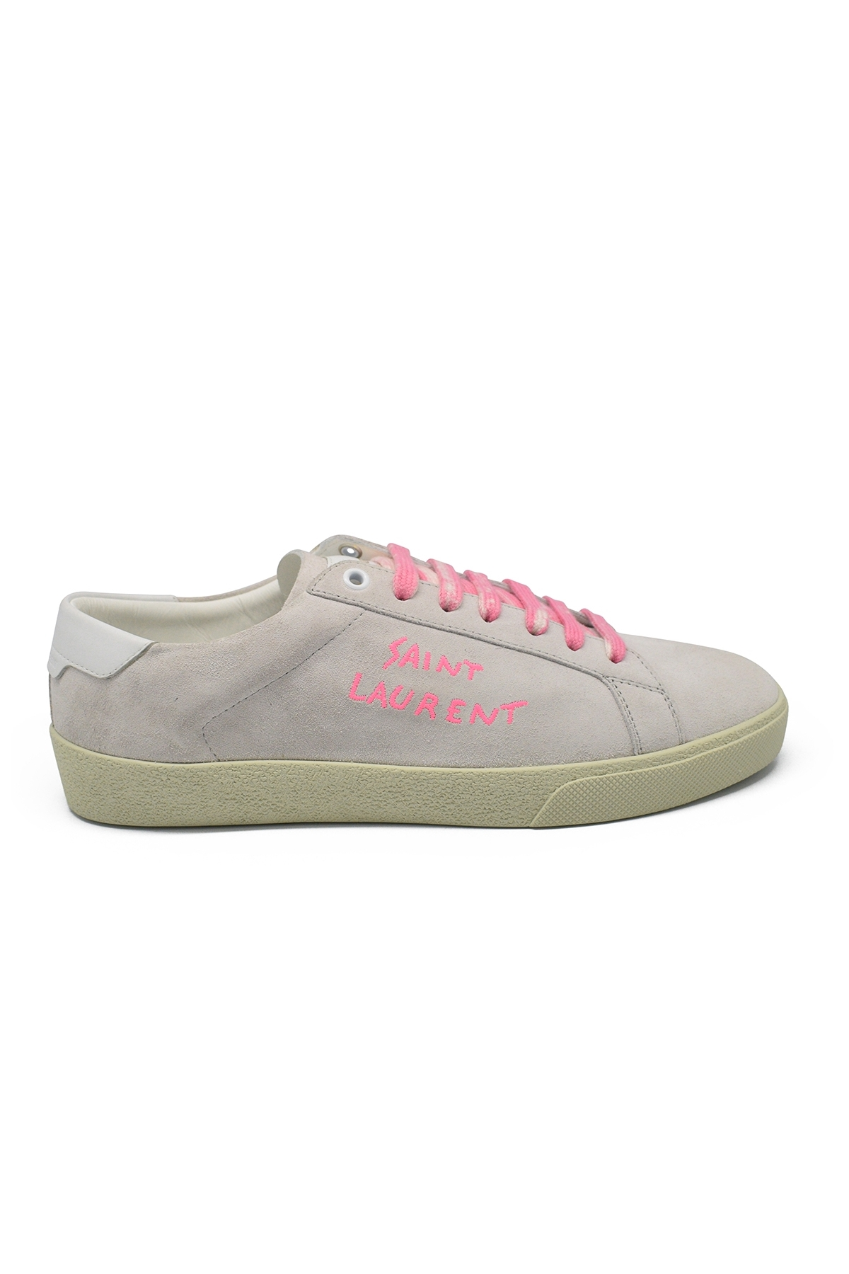 Saint Laurent Court Classic SL/06 sneakers in grey leather and suede with worn effect