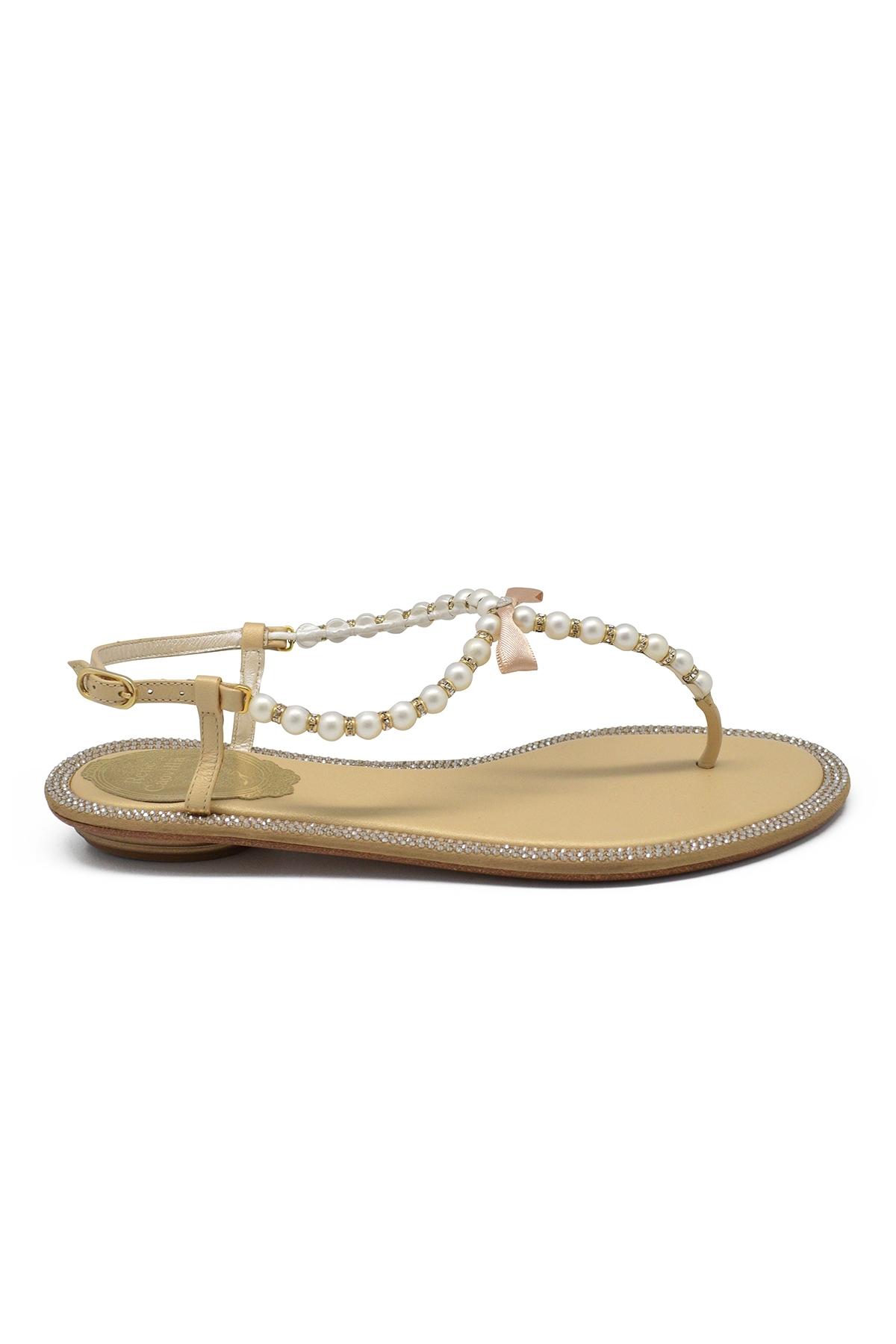Sandales Rockstud Valentino en cuir blanc à petit talon avec clous laqués ton sur ton
