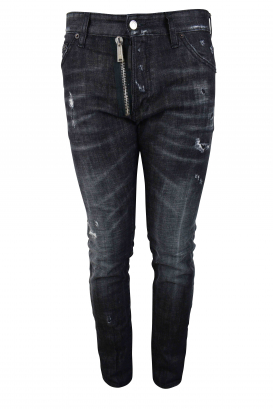 Dsquared2 grey Cool Guy jean with destroyed effect, zip and button closure