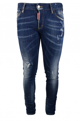 Dsquared2 dark blue faded Slim jean with red and white paint stains and button closure