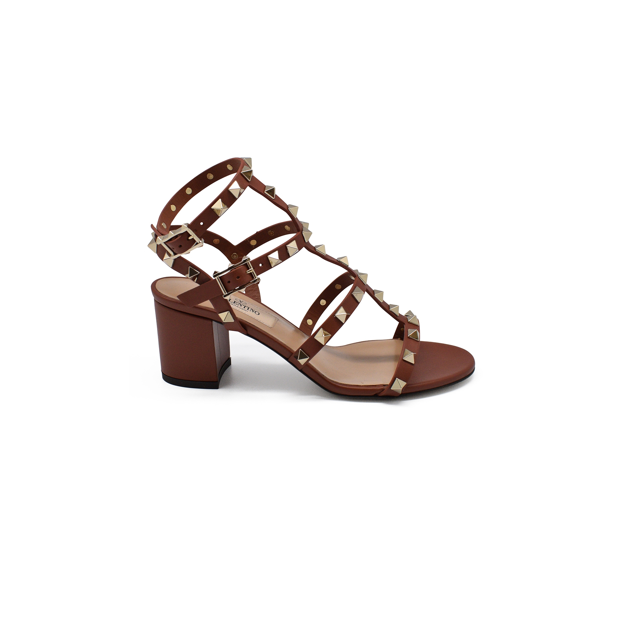 Valentino Rockstud sandals in brown leather with platinium finish studs and low heel