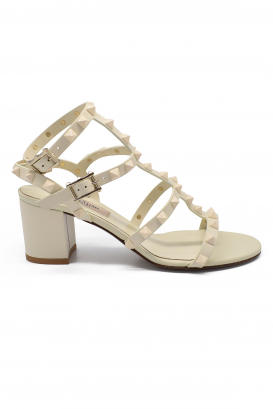 Valentino Rockstud sandals in white leather with tone on tone studs and low heel
