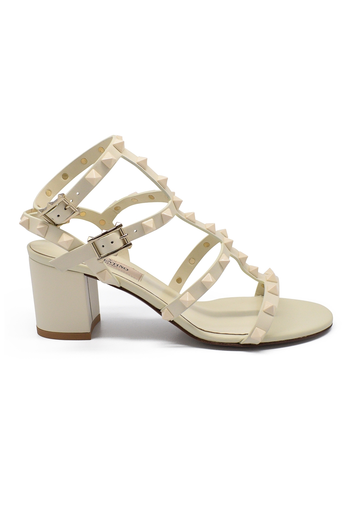 Valentino Rockstud sandals in white leather
