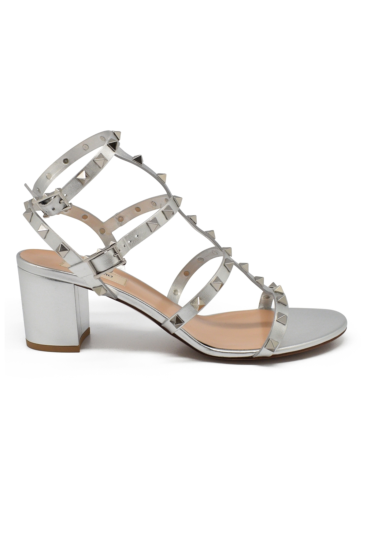 Valentino Rockstud sandals in silver leather with tone on tone platinium finish studs and low heel