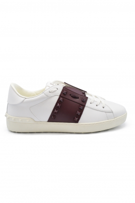 Valentino Rockstud 11 sneakers in white leather with bordeaux leather and bordeaux rubber studs