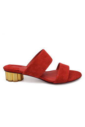 Salvatore Ferragamo mules in red suede with flower shaped golden heel
