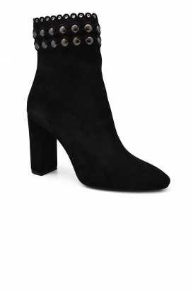 Saint Laurent Lou zipped boots in black suede with studded detail with high heel