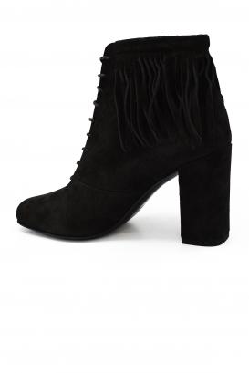 Bottines à lacets Saint Laurent en daim noir à talon avec bout légèrement carré et franges à la cheville