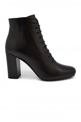 Bottines à lacets Saint Laurent en cuir noir à talon avec bout légèrement carré