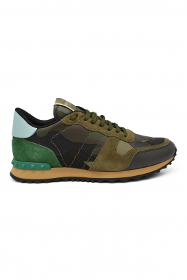 Sneakers Rockrunner camouflage Valentino en tissu et cuir vert et kaki
