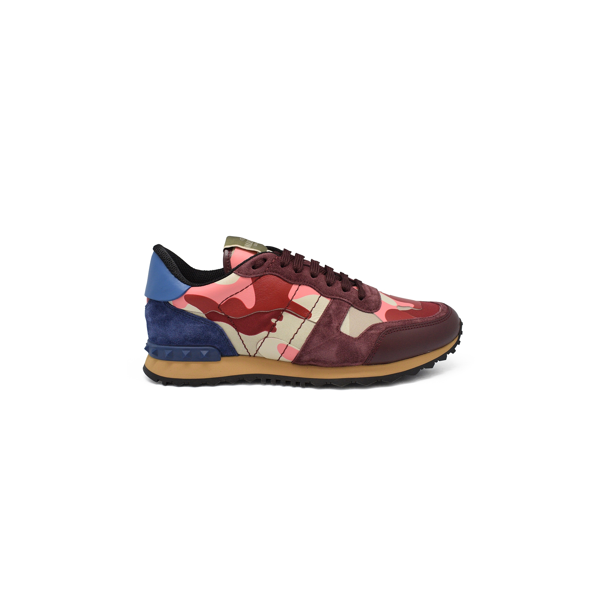 Valentino Rockrunner camouflage sneakers in pink and red fabric and nappa