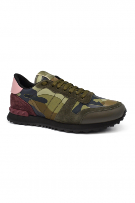 Valentino Rockrunner camouflage sneakers in multicolor fabric and nappa