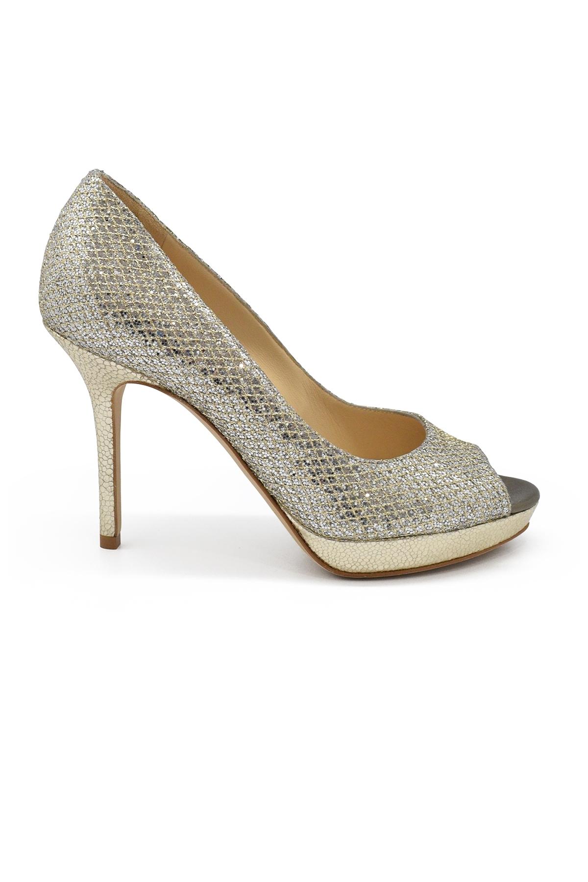 Luna Jimmy Choo gold glitter open toe pumps