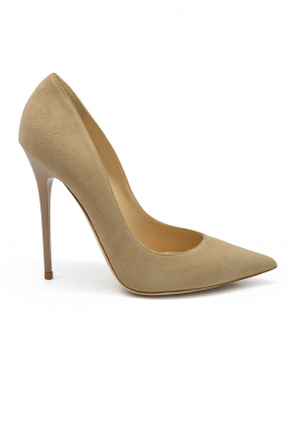 Jimmy Choo Anouk pumps in beige suede with pointy toe and very high heel
