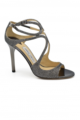 Jimmy Choo Lang sandals in leather with anthracite glitters