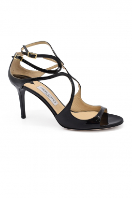 Jimmy Choo Ivette sandals in black patent leather with high heel and double ankle strap