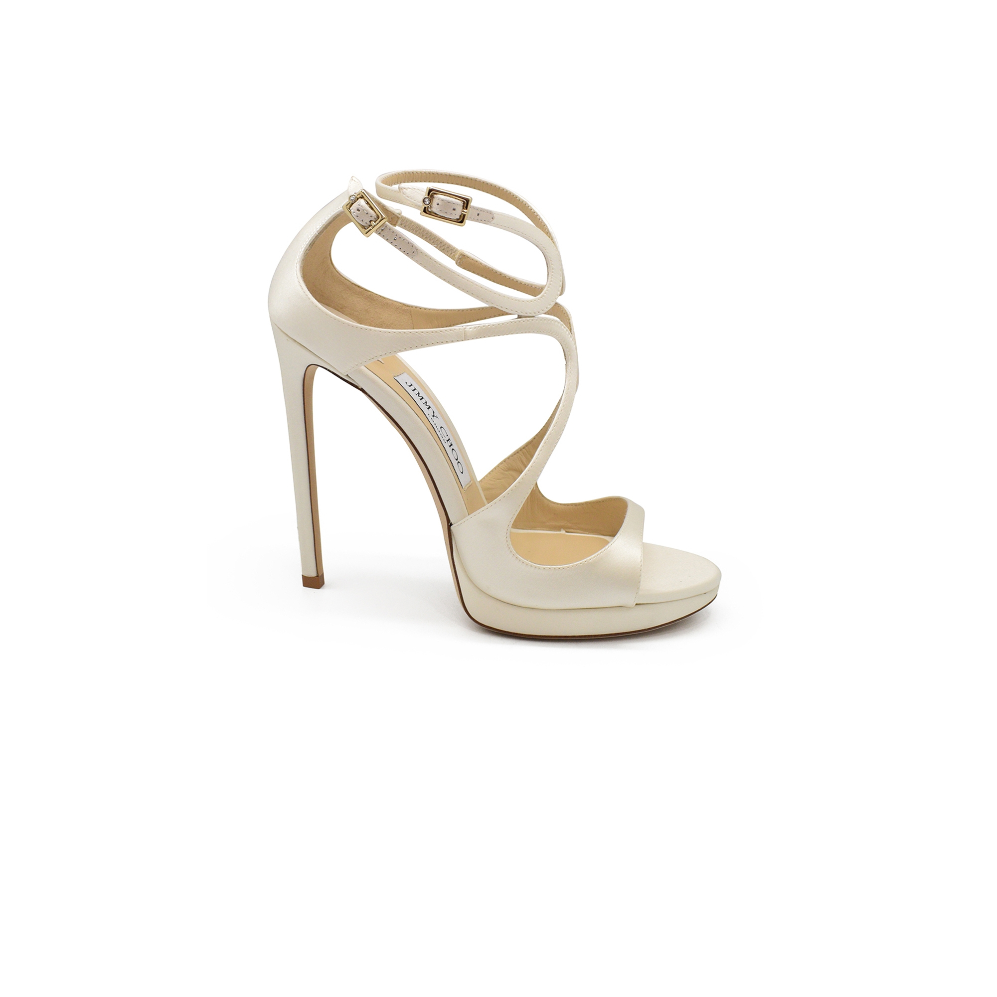 Jimmy Choo Lance 120 in ivory satin with double ankle strap and very high heel