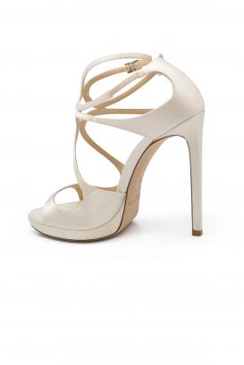 Sandales Lance 120 Jimmy Choo en satin ivoire à très haut talon avec double bride à la cheville