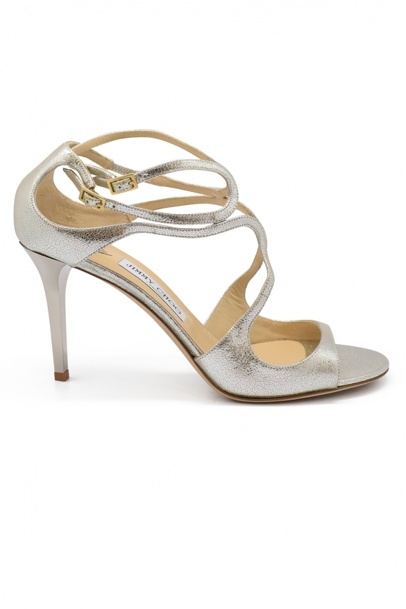 Jimmy Choo Ivette sandals in champagne glitter leather with high heel and double ankle strap