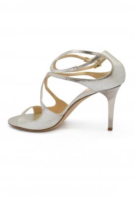 Sandales Ivette Jimmy Choo en cuir pailleté champagne talon haut avec double bride à la cheville
