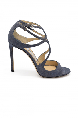 Jimmy Choo Lang sandals in leather with blue navy glitters