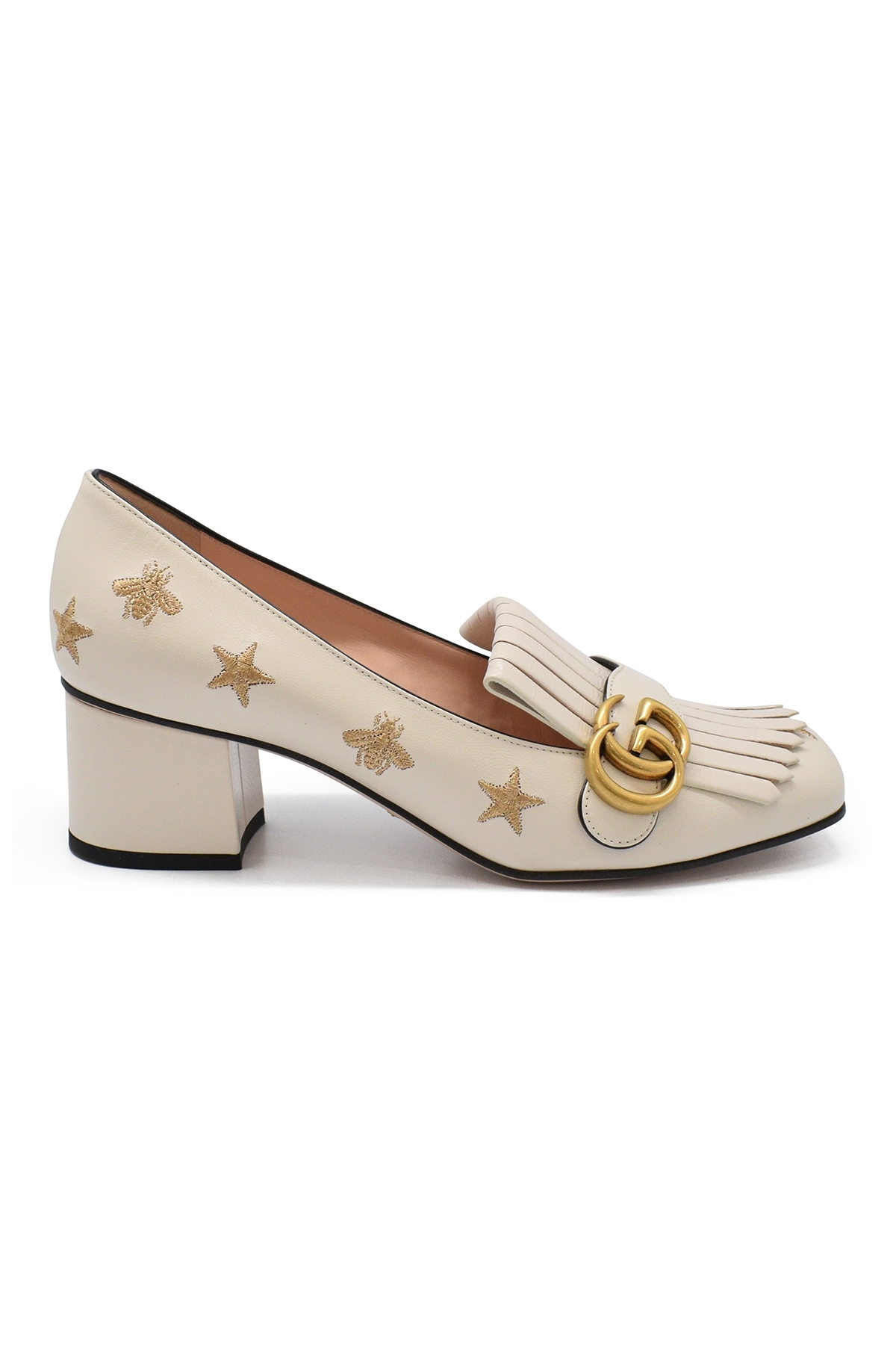 Gucci pumps with little heel in white leather with gold bees and stars embroidery, GG gold buckle and fringes on the front