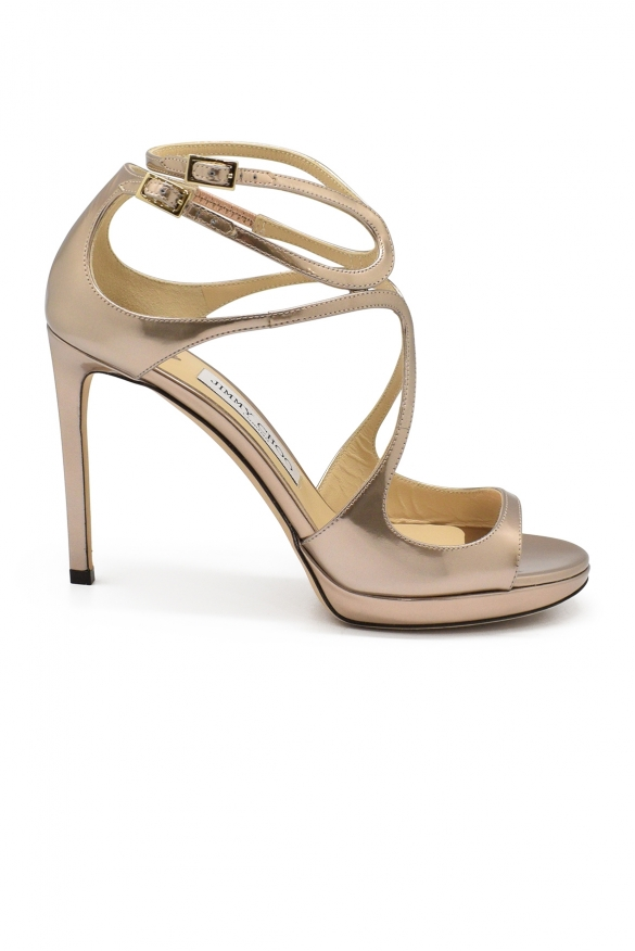 Jimmy Choo Lance sandals in rose/gold liquid miror leather
