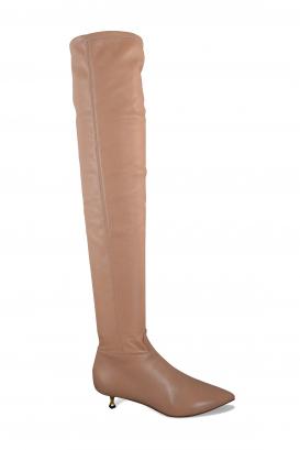 Bottes cuissardes Valentino en cuir stretch nude avec petit talon doré torsadé