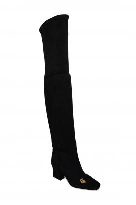 Bottes cuissardes Dior en daim noir avec boucle dorée CD à l'avant et talon haut