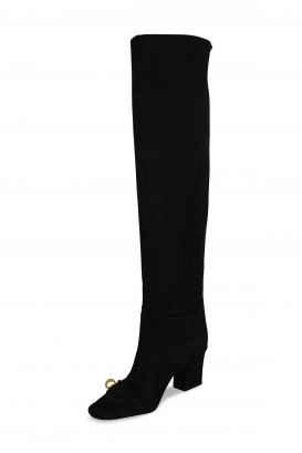Bottes Dior en daim noir avec boucle dorée CD à l'avant et talon haut