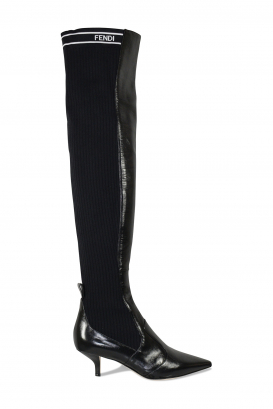 Fendi over-the-knee boots in black leather and stretch fabric with low heel