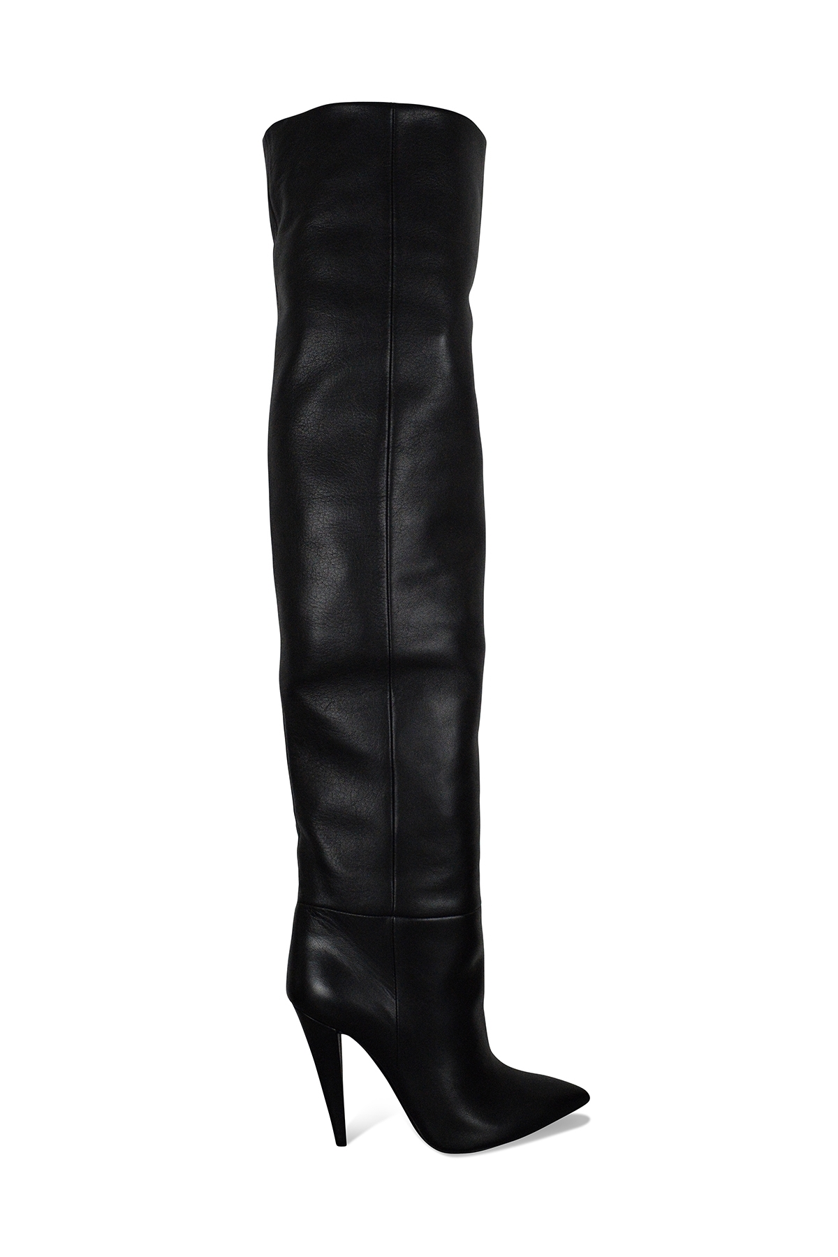 Saint Laurent Era 110 over-the-knee boots in black leather with high heel