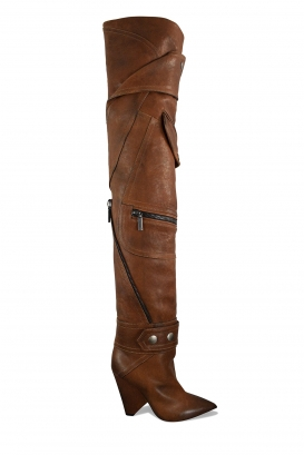 Saint Laurent Niki 105 over-the-knee boots in brown leather with high heel, and leather jacket style pockets and zip