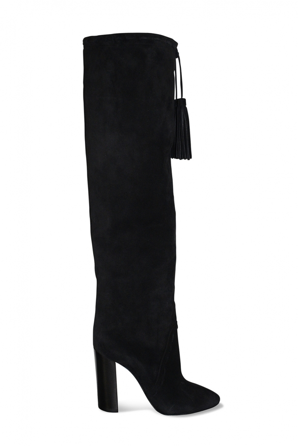 Saint Laurent over-the-knee black suede boots with high heel with decorative pompom
