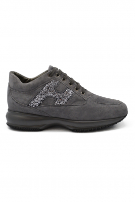 Hogan Interactive N20 sneakers in grey suede and technical fabric inserts with glittered H logo and oversize sole