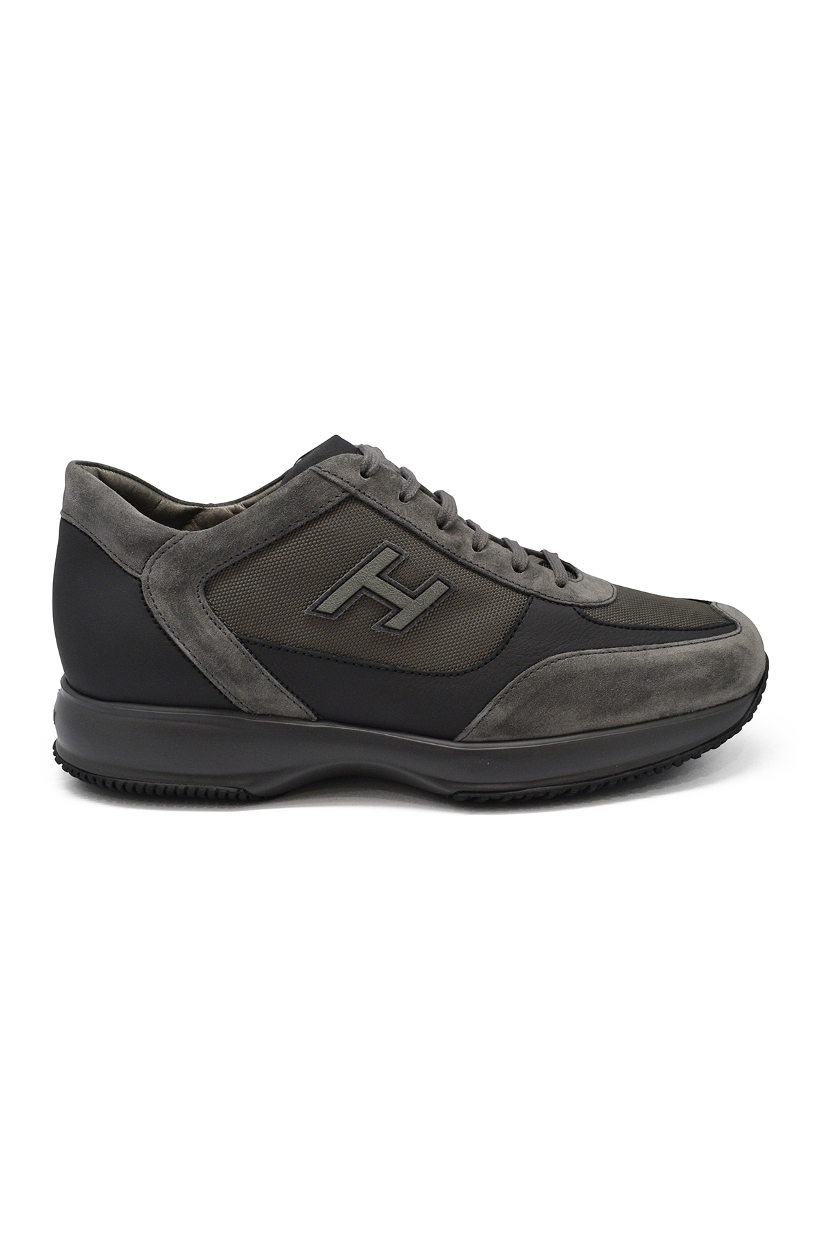 Hogan Interactive N20 sneakers in grey suede and leather with grey technical fabric inserts.