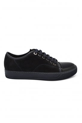 Lanvin sneakers in blue suede with black patent leather toe and blue rubber sole