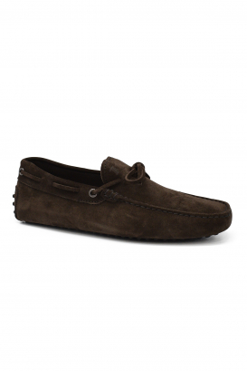 Tod's loafers in brown suede with knotted laces at the front and rubber sole with barbs
