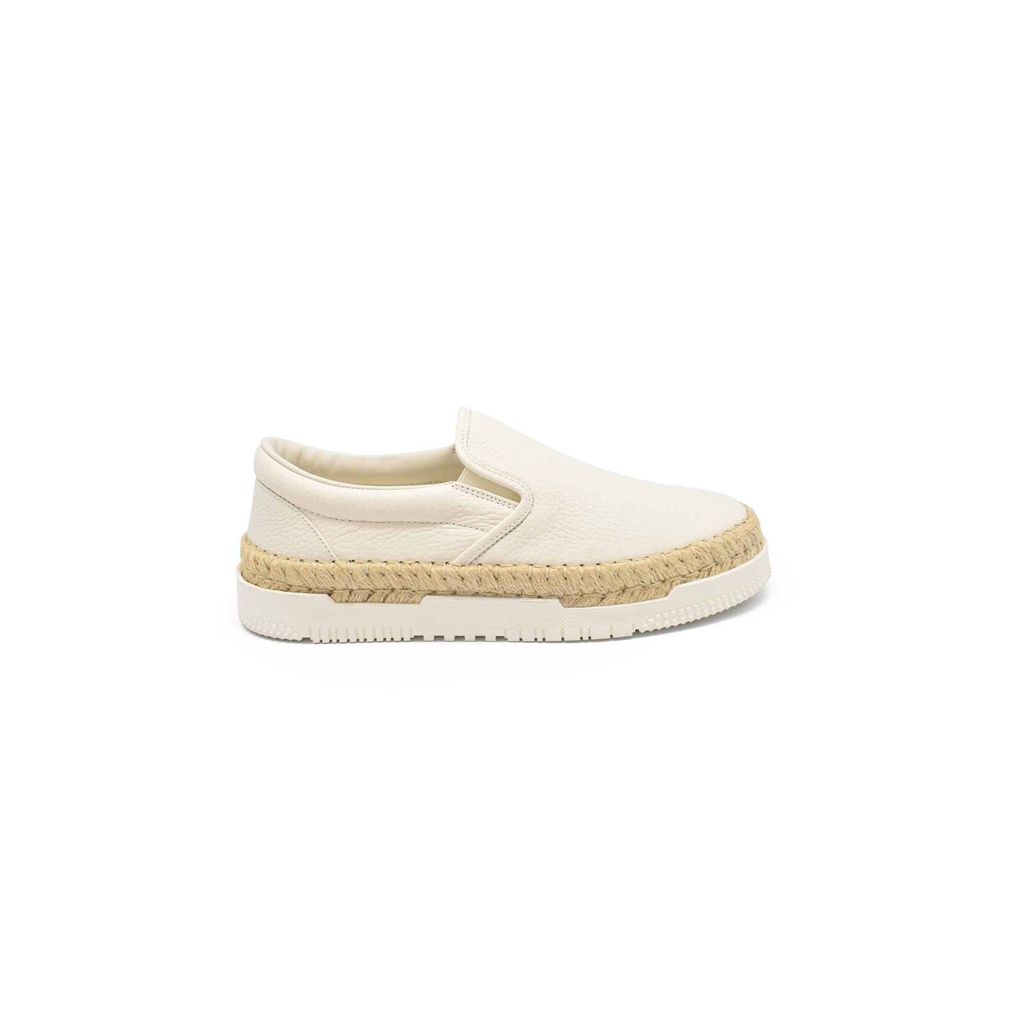 Baskets slip-on Valentino en cuir grainé beige avec semelle en raphia tressé et en caoutchouc blanc