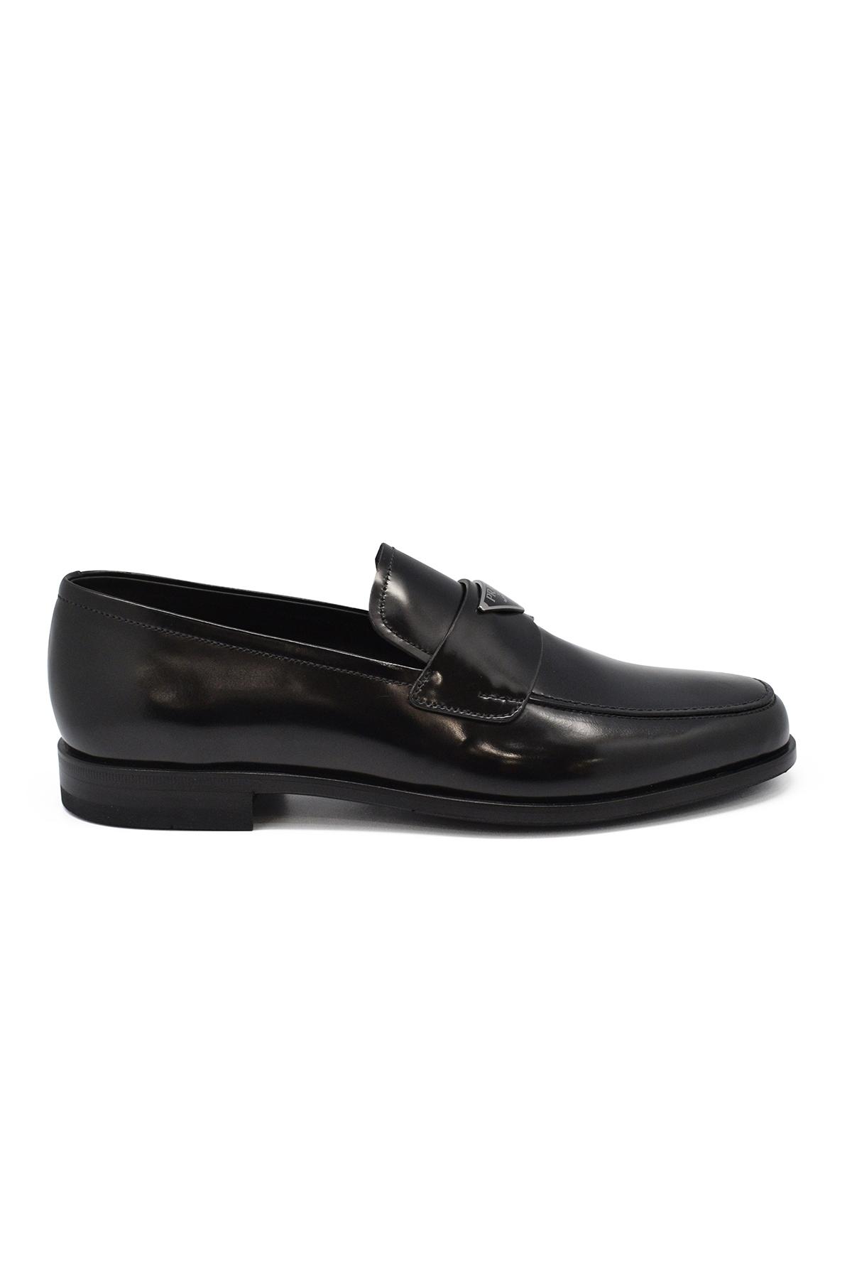 Black leather Prada loafers