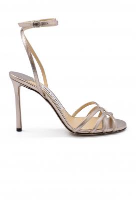 Sandales Mimi 100 Jimmy Choo en cuir platine métallisé  avec brides entrecroisées à la cheville