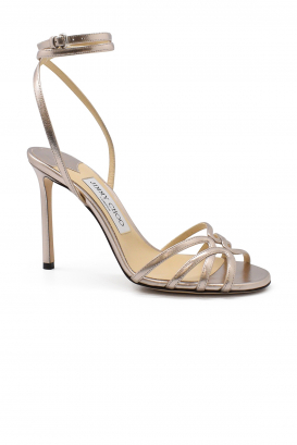 Jimmy Choo Mimi 100 in platinium metallic leather with crossed bridles around the ankle